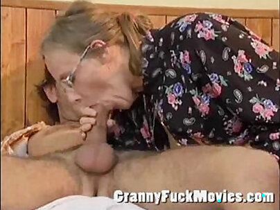 Amateur granny blows on his dick