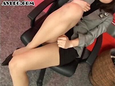Asian secretary in pantyhose stocking nylon foot fetish