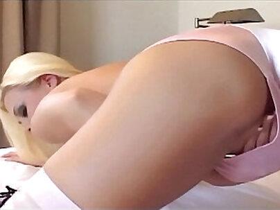 blonde in a stockings, knees pantie, and high heels