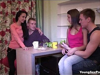 Swing Orgy for Cute Teen Horny Terrible Slut