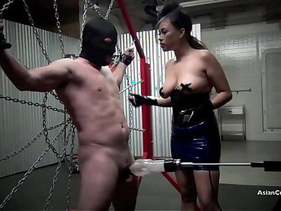 Restrained and drained the milking of a male slave starring goddess gia