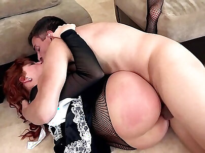 Curly redhead businesswoman gets punished by cop