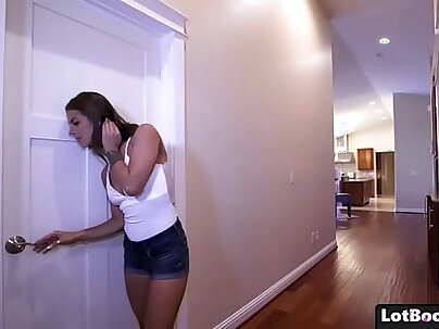 Cute Brunette Samantha R Gets Doggystyle Action Then Has It in Her Ass