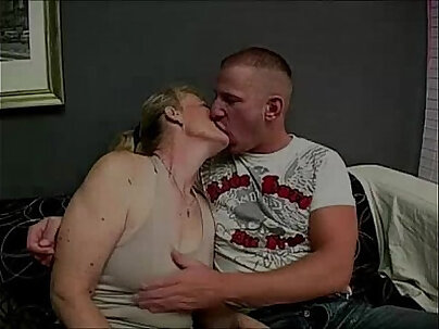 Lusty granny fucks young hunk