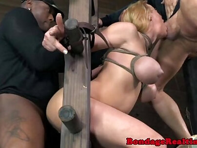 Subs interracial ffm on bondage frame