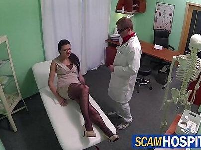 Doctor licks and fucks Kamila Novotna tight shaved pussy