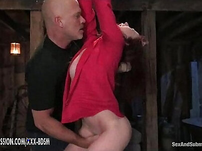 Aged man receives orgasm from bondage subject whilst stroking erection