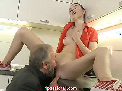 Bosomy bald gals have great pussy licking right on the kitchen table