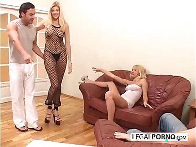 Blonde fucked threeway with big cock