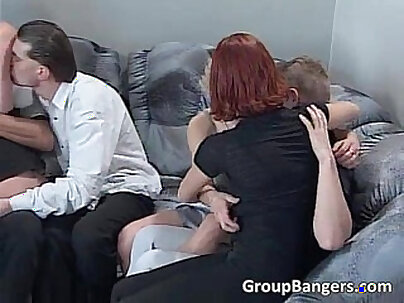 Cock-crush action with group of female cops