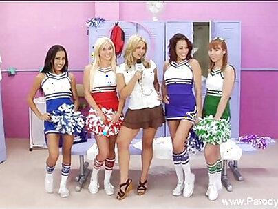 Cheerleader Gets Panties GangBanged