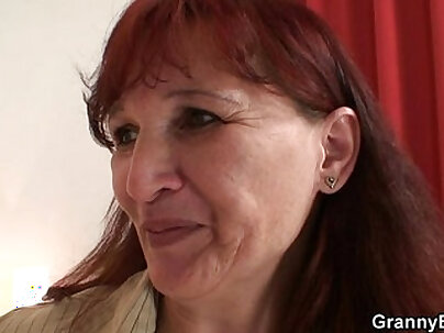 Brown haired redhead gets her bald mamma examined right at her desk
