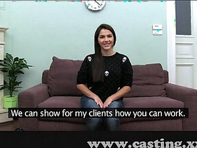 Classy babe Nellys first interview with auditioning casting agent