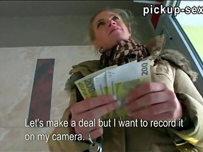 Superb amateur blonde Czech babe Adele sucks off and fucked for money