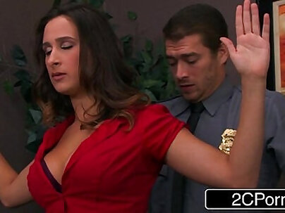 Faced with a naked guy and his secretary Ashley Adams lounges thick dick