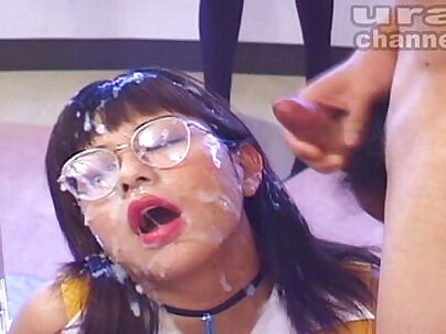 Bosomy Japanese trans Yumi Kurumi becomes bukkake lover