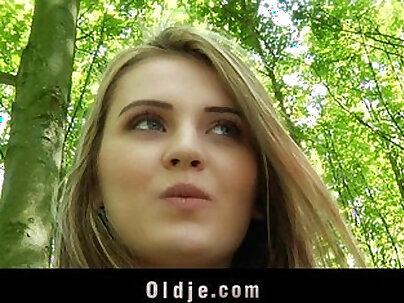 Lonely Grandpa fucks young amateur girl in the forest