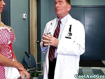 Nurse Samantha gets sperm sample on face