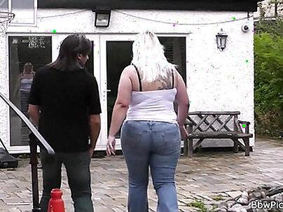 Blonde plays with cock until cum