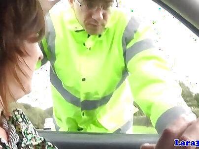 Mature british skank swallows police cum