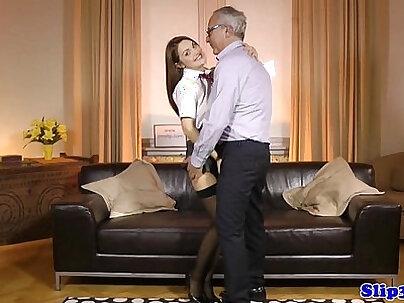 European schoolgirl pleasures geriatric