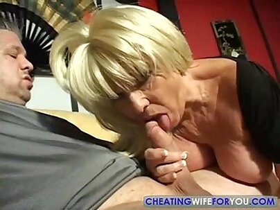 Big Titty Mature Blonde Gives A Lucky Guy A Blowjob