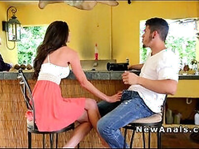 Busty dark haired babe Jerilyn gets anal fucked in cowgirl position