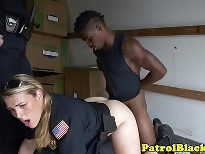 Black thug submitted to trio with femdom cops